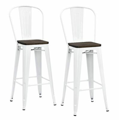 "Pair of Industrial Bar Stools Wooden Seat Metal Chair Kitchen Counter 30"" Height"
