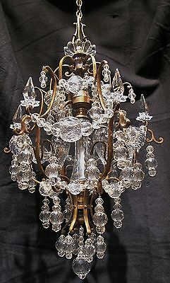 Spectacular Antique Gilt Bronze and Crystal Beaded Chandelier / Lantern C. 1910