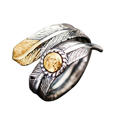 Vintage Couple Native Pawn Jewelry Navajo Signed Feather Open Ring up-to-date