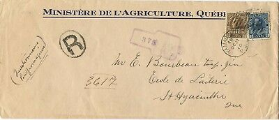 --NICE-- Keyhole REGISTERED Gov't WAR TAX 1916 double weight Canada cover