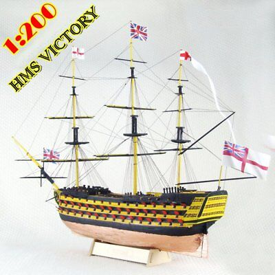 Scale 1/200 Laser-cut Wooden Sailboat Model Kit: HMS VICTORY 1765 Ship Model New