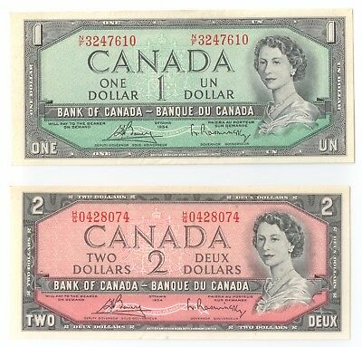 Canada $1, $2 Dollars 1954 lot of two (2) notes, appear uncirculated