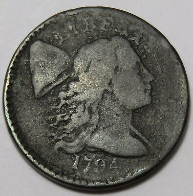 1794 Large Cent Liberty Cap Flowing Hair Head Copper Penny 1c US Coin Item#14215