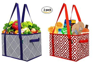 2 Pack Large Grocery Bags Reusable Foldable Shopping Tote Bag Waterproof Storage
