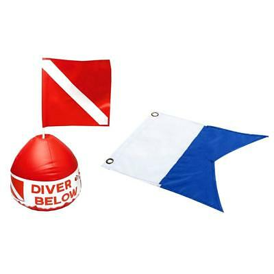 Diving Scuba Signal Alpha Flag + Red & White Flag with Inflatable Float Buoy