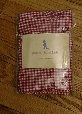Pottery Barn Kids Small Red Gingham Sabrina Basket Liner NEW