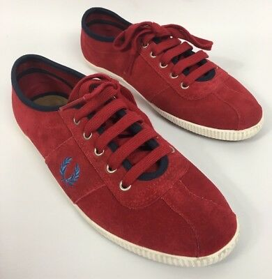 Fred Perry Hayes Unlined Suede Red Trainer Sneakers Women's Sz UK 6 US 8