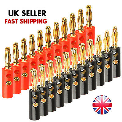 20X Banana Plug Gold Plated Stackable 4mm Speaker Connector Black & Red /UK Fast