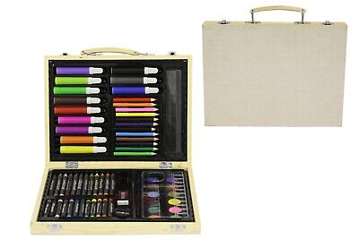 NEW Kids Art Craft Set in Wooden Case | Crayons Paints Pens | ihartTOYS (67pcs)