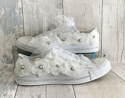 Wedding Converse Trainers Shoes. Swarovski Crystals and Organza/Lace Flowers
