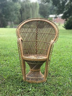 Enjoyable Vintage Peacock Chair Wicker High Back Fan Rattan Mid Gmtry Best Dining Table And Chair Ideas Images Gmtryco