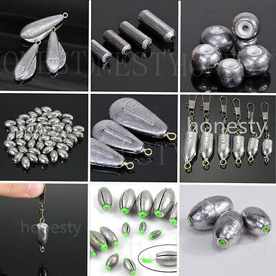 1~50pcs Multiple Types Weights Lead Sinkers Pure Lead Making Sea Fishing Tackle