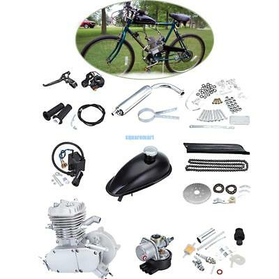Silver 80cc 2 Stroke Petrol Gas Engine Motor Kit Motorized Bicycle Bike Set