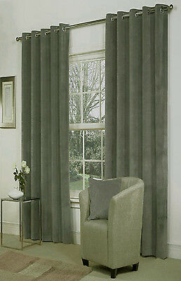 """SALE Pair of Curtains Velvet GREY Eyelet BLACKOUT and THERMAL 55"""" wide x 72""""drop"""