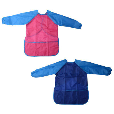2pcs Childs Kids Craft Apron Smock for Painting Cooking Eating Waterproof TH680