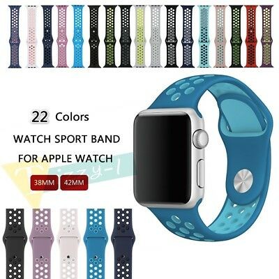 Silicone Replacement Wrist Bracelet Sport Band Strap For Apple Watch 38mm 42mm