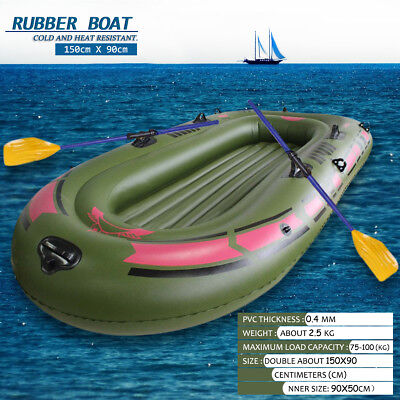 Single Inflatable Kayak Cushion Boat Dinghy + Oars+ Air Pump +Life Rope 150x90cm