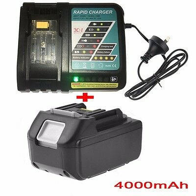 4.0AH 18V Battery for Makita BL1830 BL1815 LXT400 BJS BJR Li-Ion+Rapid Charger