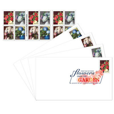 USPS New Flowers from the Garden Keepsake with Digital Color Postmark Set of 4