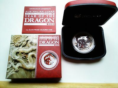 2012 Lunar Year of the Dragon Red 1oz Proof Silver Coin PerthMint Series II