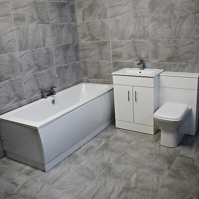 Drina Double Ended Bath Suite with 1100mm Vanity Set Bathroom Suite White Gloss
