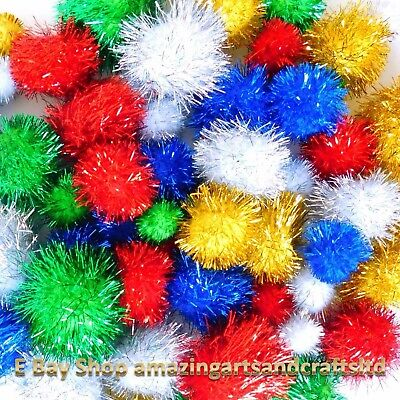 30 Gitter Craft  Pom Poms 15mm to 35mm Christmas tinsel festive
