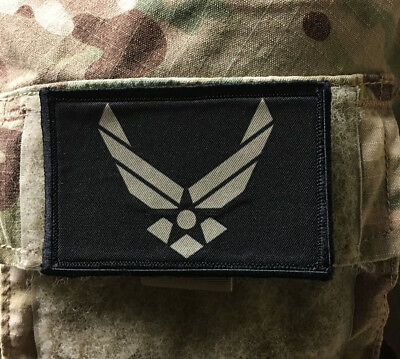Air Force Logo Subdued Morale Patch Tactical Military USA Hook Badge Army