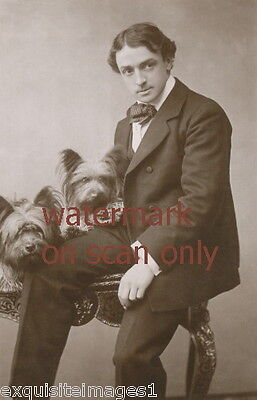 1906 Photo~Well Dressed Man w Two Skye Terrier Dog~Dogs~NEW Lge Note Cards