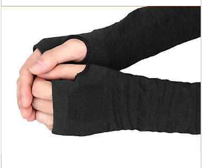 Winter Wrist Arm Hand Warmer Knitted Long Fingerless Gloves Mitten For Women blk