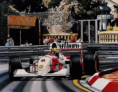 Senna and Prost 78 x 55 cms limited edition  F1 art print by Colin Carter
