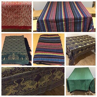 Thai Silk Table or Bed Cloths Runner Decorative Home Reversible Medium Size