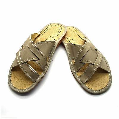 Mens Gents Beige Leather Slippers Slip On Shoes Sandals Size 6 7 8 9 10 11 12 UK