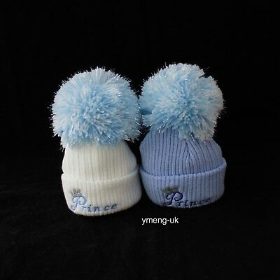 First Size Baby Boy Blue Big Pom Hat with Prince Embroidery Bubble Hat Knit