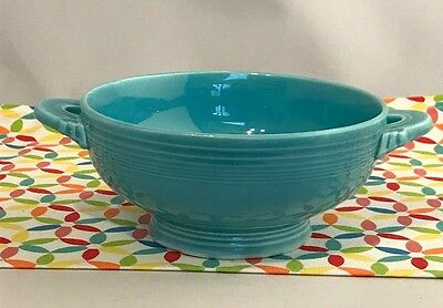 Vintage Fiestaware Turquoise Cream Soup Bowl HLC Fiesta Blue Footed Bowl