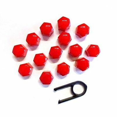 19mm RED ALLOY CAR WHEEL NUT BOLT COVERS CAPS UNIVERSAL FOR ANY CAR NEW BY KSWM