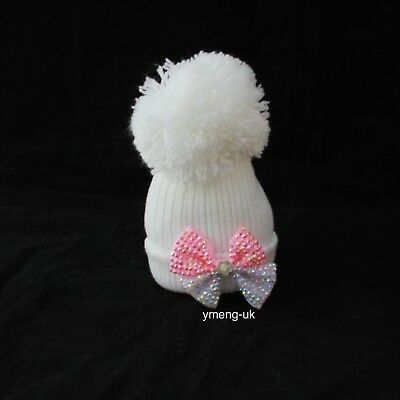 First Size Baby Girl's Big Pom Hat with Diamantee Bow Bubble Hat New Born