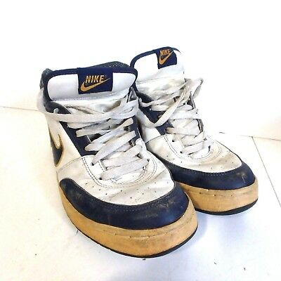 Vintage NIKE Swoosh Mid-Top Basketball Shoe Blue White & Yellow Made in Thailand