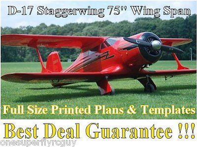 Beechcraft D-17 StaggerWing Giant Scale RC Airplane PRINTED Plans & Templates