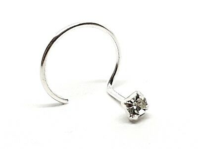 Nose Stud 2mm Clear Cz Claw Set Curl 22g (0.6mm) Sterling Silver