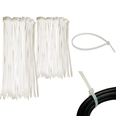 "200 Pc Cable Ties Zip Heavy Duty Clear Nylon Wire Cords Uv Resistant Tools 6"" 8"""