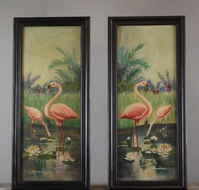 Pair Of Vintage Oil Paintings On Board Of Flamingos