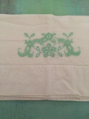 Vintage Single White Pillowcase Embroidered Light Green Floral Pillow Case Linen