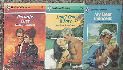 LOT OF 3 LINDSAY ARMSTRONG  HARLEQUIN VINTAGE ROMANCE BOOKS 1980's