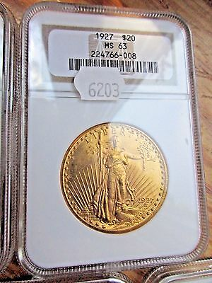 1927 St. Gaudens $20 Gold Coin Ngc Ms 63 Double Eagle Certified