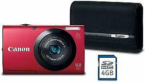 Canon PowerShot A2300 16 MP Digital Camera Deluxe Kit with Case and 4GB Me..