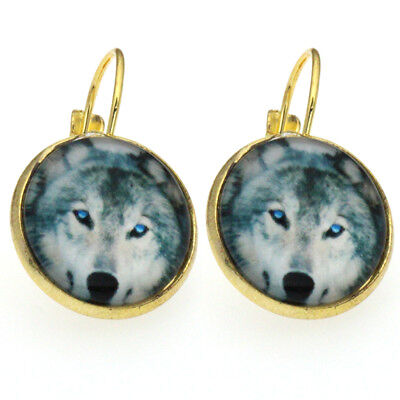 New 2018 Wolf Glass Cabochon Lever Back Women Earring Jewelry 1 Pair BER192