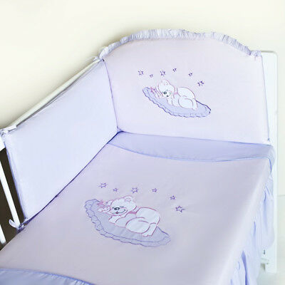 3 Pieces Baby Bedding Set Nursery Cot Bed Round Padded Bumper Duvet 120x90cm New