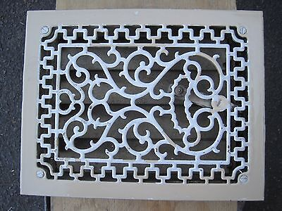 Antique porcelain enamel Heat Grate Vent Grille Register Cast Iron  heart  top