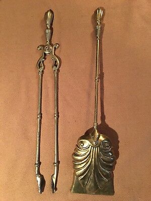 Antique Pair of 20th Century Brass Fireplace Tools Numbered Rd No151641 Marked