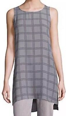 bf4ee0be9677d MED  278 NWT EILEEN FISHER SOFT WHITE PlLAID PRINTED SILK GEORGETTE ...